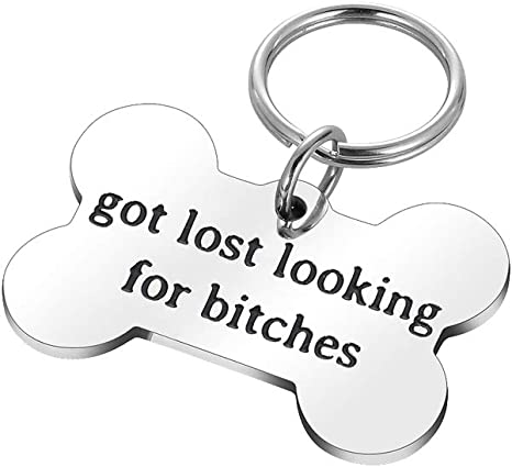 DT5771-GC899X Dog Lover/'s Gift Got Lost Looking For Bitches Pet ID Tag with Nickel Ring Dog Pet ID Tag