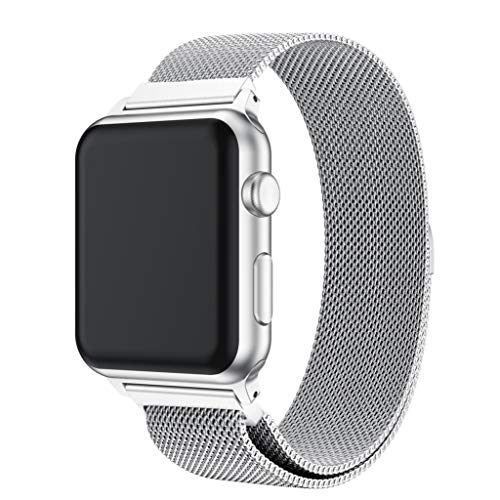 Vicole Milanese Loop Bands Compatible Apple Watch Series 4 44mm, Women Men Stainless Steel Magnetic Lock Metal Wristband Strap Accessories for iWatch Series 4 (Silver, One size)