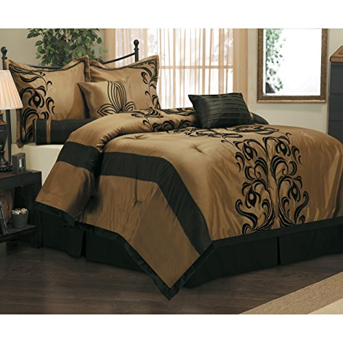 Tan Floral Queen Comforter - 7 Piece Elegant Damask Floral Design Comforter Set Queen Size, Featuring Luxurious Chic Classy Jacquard Paisley Persian Ruched Themed, Contemporary Rich High End Premium Bedding, Black, Tan