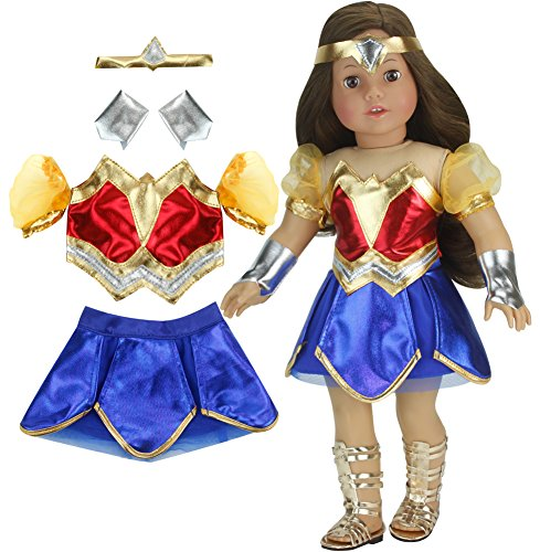 18 Inch Doll Super Hero Woman Costume by Sophia's, Fits American Girl Dolls & More! 18 Inch Doll Clothes Super Heroine Outfit with Accessories | Wonder Doll ()