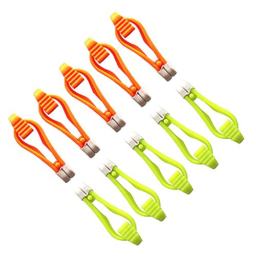 Krazywolf Mini Power Grip Snap Trolling Weight Release Clip(Not Rigged), 2 1/2-Inch,Pack of 10,Orange/Yellow ()