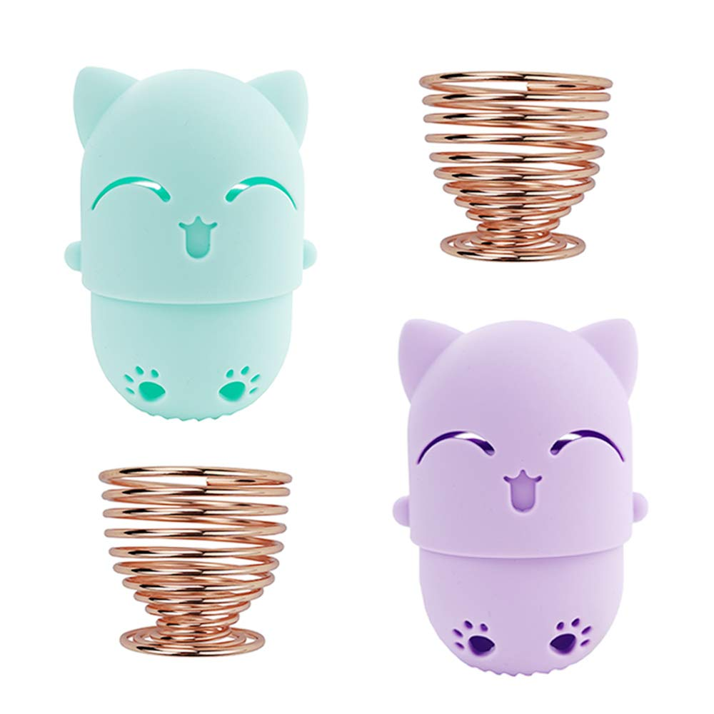 NaFurAhi Makeup Sponge Case, Cute Beauty Blender Containers, Silicon made Perfect for Traveling, Keep Makeup Sponges in a Safe &Sanitary, with 2 Fashion Hair Clips &2 Sponge Holders (Green+Purple)
