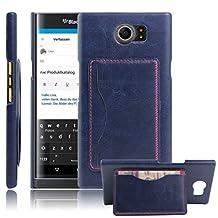 Fettion Blackberry Priv Case, Premium PU Leather Wallet Cases Flip Cover with Stand Card Holder for Blackberry Priv 2015 Smartphone (Bracket - Blue)