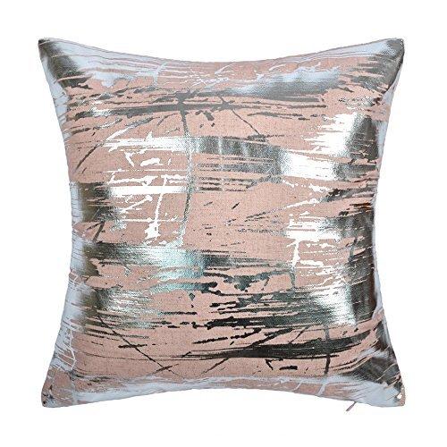 JWH Silver Foil Throw Pillow Case Linen Decorative Cushion Cover Home Sofa Car Bed Living Room Decor Pillowcase Digital Print Shell 17 x 17 Inch Pink