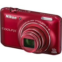 "Nikon Coolpix S6400 Fotocamera Digitale Compatta, 16 Megapixel, Zoom 12X, 3200 ISO max, LCD Touchscreen 3"", colore: rosso"