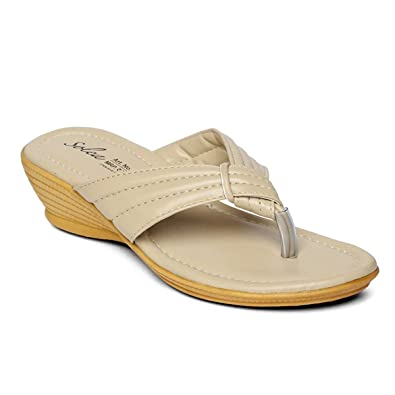 e696efeadbfb PARAGON SOLEA Plus Women s Beige Flip-Flops  Buy Online at Low Prices in  India - Amazon.in