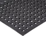Durable Workstation Plus Rubber Anti-Fatigue Drainage Mat, For Wet Areas, 3' x 15', Black