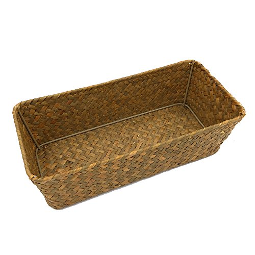 Basket Natural Storage Maize (E-FOREST Pure Hand-Woven Seagrass Storage Basket,- Bathroom & Home Desktop Organizer Baskets (Small))
