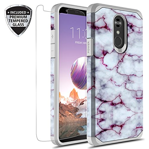 LG Stylo 4 Case, LG Stylo 4 Plus Case With Tempered Glass Screen Protector, Rosebono Slim Hybrid Dual Layer Graphic Fashion Cute Colorful Cover Armor Case for LG Stylo4 (Purple Marble)