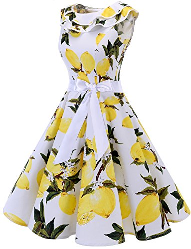 White Bridesmay Manches Vintage de volante annes Cocktail 50 Encolure Lemon sans soire Robe RxRFqwAP
