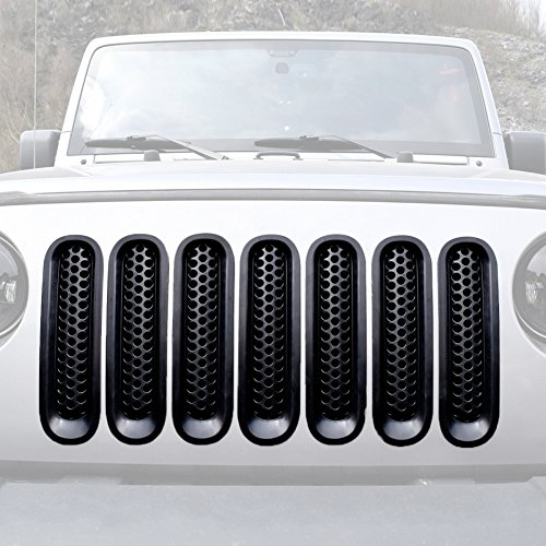 VVHOOY 7 PCS Black Mesh Grill Mesh Grill Insert for Jeep Wrangler JK JKU Unlimited Rubicon Sahara X Off Road Sport Exterior Accessories Parts 2007-2015