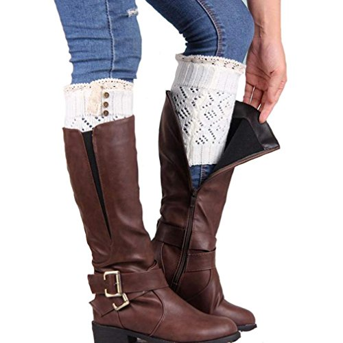 Coromose® 2015 Women Lace Stretch Boot Leg Cuffs Leg Warmers Socks Topper Cuff (White)
