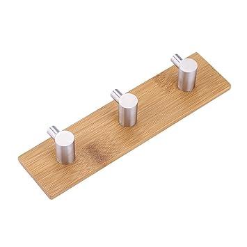 Fdit Ganchos Adhesivos de bambú Natural de Acero Inoxidable para Colgar en la Pared, Bolsa de Gancho para Colgar Toallas de Cocina, baño, ...