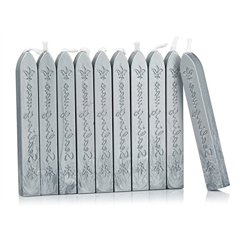 Plumper Stick - Mceal Sealing Wax Stick with Wick Flower De Luce of France Retro 10 Pieces Pack(Silver Grey)