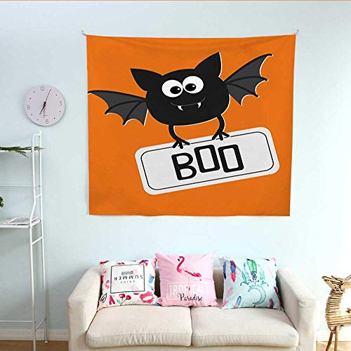 (Halloween Horizontal Tapestry Cute Funny Bat with Plate Boo Fangs Scare Frighten Seasonal Cartoon Print Decorative Tapestry 32W x 32L InchOrange Black)