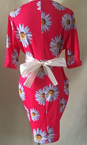 Red Belt Skirt Tunic Women's Loose with Dresses Bodycon Swing Short Summer Short Sleeves Elegant Skater Patterned qHHZR6x
