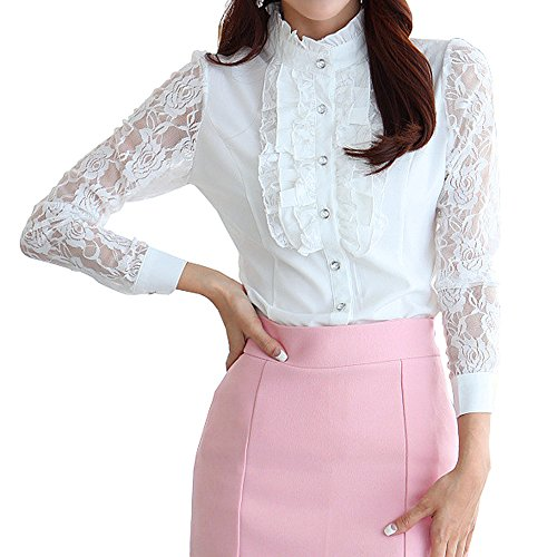 Vintage Shirts Stand-Up Collar Lotus Ruffle Lace Long Sleeve BS14 (L, ()