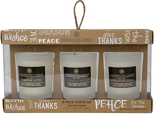 (Chesapeake Bay Candle Heritage Collection Trio Votive Scented Candle Gift Set, Fall Fragrances )