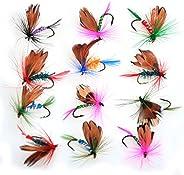 Piscifun 12pcs Dry Flies/ 40pcs Wet Flies Fly Fishing Flies Kit Bass Salmon Trouts Flies Floating/Sinking Asso