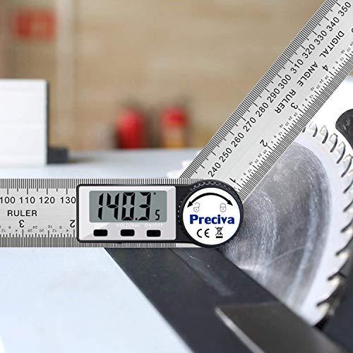 Regla de buscador de ángulo digital, regla de ángulo de acero inoxidable con transportador digital Preciva de 7.5 pulgadas / 200 mm con pantalla LCD grande y funciones de puesta a cero / bloqueo / inversión (batería CR2032 incluida)