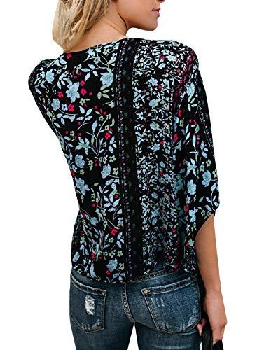 Fleur V 2 Chemise Tops Spcial Motif Bouffant Haut Chemisiers Et Mode Vintage Printemps Nou Cou 3 Manches Loisir Femme Style Shirts 4 Elgante qSxvwF4C