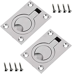 Luckycivia 2 Pack 2.5x1.8 Inch Stainless Steel Square Flush Pull Ring Handles 304, Hidden Recessed Furniture Handle, Recessed Boat Hatch Latch Cabinet Flush Mount Lifting Ring Pull Handle