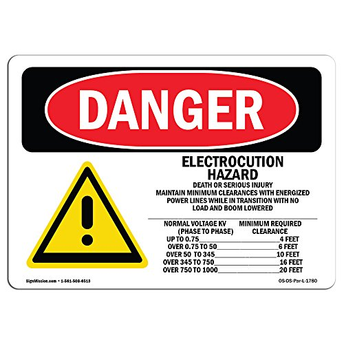 OSHA Danger Sign - Electrocution Hazard Crane | Choose from: Aluminum, Rigid Plastic Or Vinyl Label Decal | Protect Your Business, Construction Site, Warehouse & Shop Area |  Made in The USA from SignMission