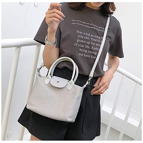 aimdonr bolso Big Tote Negro Canvas Tote Bag mujer Vintage Gris Size hombro Mujeres cartera r8vq4r