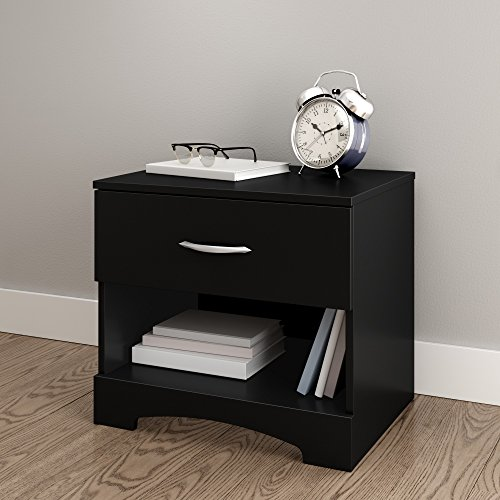 South Shore Step One 1-Drawer Nightstand, Pure Black with Matte Nickel Handles - Bedside 1 Table Drawer