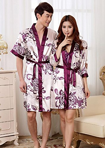 Dress Dress Flowers L Size 2pcs with Short Nightgown Wanyne Pajamas Gowns Gowns Sleeves Women's Dressing Printed Dressing Strap with Bathrobe Strap RwHzUqI