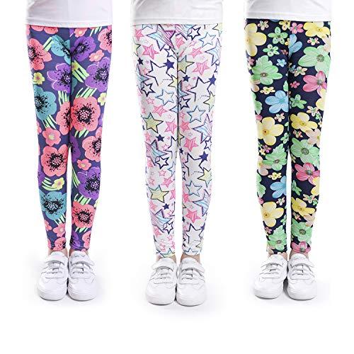 slaixiu Girls Leggings Stretchy Kids Pants Classic Printing Flower Pattern(No.3_70#) ()
