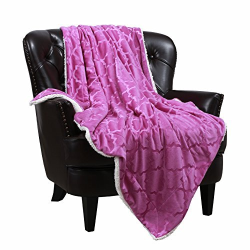 3D Pattern Purple Blanket Reversible Sherpa Throws Light-Weight for Air Condition Room by VVFamily