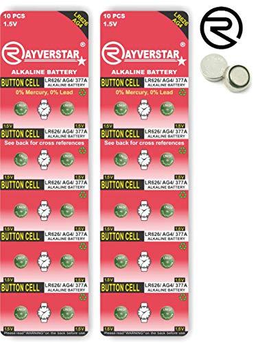Rayverstar LR626 AG4 1.5V Alkaline, 20 Batteries Fits: 66, 606, 626, 376, 177, 377, GP377 (Full List Below)