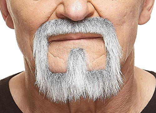 Mustaches Self Adhesive, Novelty, Van Dyke Fake Beard, False Facial Hair, Costume Accessory for Adults, Gray with White ()