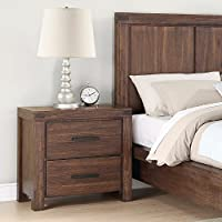 Coaster Lancashire Collection 204112 26 Nightstand with 2 Drawers Built-In Charging Station Matte Dark Gunmetal Handles Acacia Wood Solid Materials in Wire Brushed Cinnamon