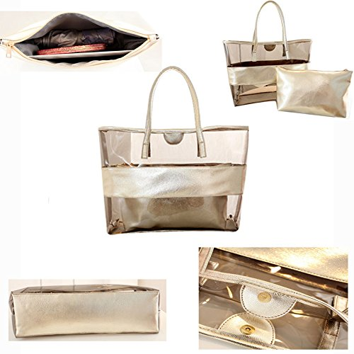 Beach Semi 1 Pouch Bag Large Shoulder 2 Tote Work with Pt3 Interior Bags in Abuyall Clear qwXSft
