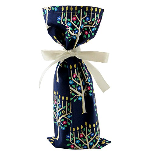 Dark Blue Reusable Fabric Gift Bag with Menorahs for Hanukkah (Wine/Skinny 6.5 Inches by 15 Inches)