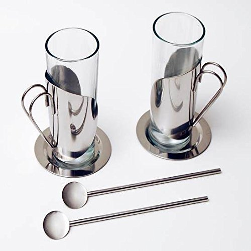 Stainless Steel Glass Tea Cups 10 oz. Set of 2
