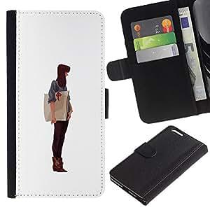 A-type (Muchacha del arte de papel del artista Dibujo Pintura Brunet) Colorida Impresión Funda Cuero Monedero Caja Bolsa Cubierta Caja Piel Card Slots Para Apple (5.5 inches!!!) iPhone 6+ Plus / 6S+ Plus