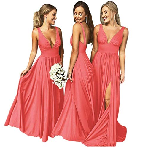 Bridesmaid Dresses Long V Neck Backless Split Beach Wedding Evening Prom Dress for Women Coral Size12