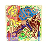 Children Magnetic Maze Toy, elecfan Kids Wooden Puzzle Game Toy Kids Early Educational