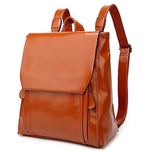 (JVP1025-B) Las señoras del estilo japonés mochila PU negro 3 way back bolso del bolso del bolso de la señora dulce de cuero real popular ligero viajero de la recuperación de la escuela informal bolsa Castaño