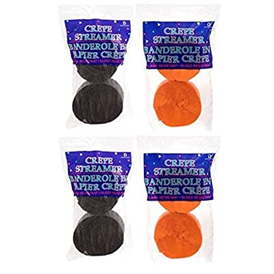 4 ORANGE Rolls + 4 BLACK Crepe Streamers, PERFECT FOR HALLOWEEN, MADE IN USA: Health & Personal Care
