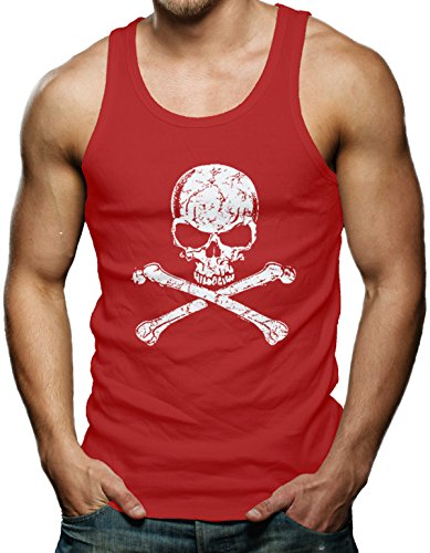 Crossbone Skull Men's Tank Top T-shirt (Large, RED)