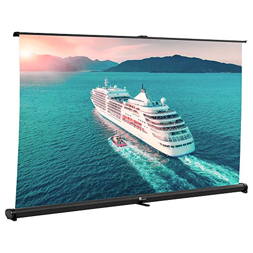 Projector Screen, Indoor Outdoor Portable Movie Screen 52 Inch Pull Down Diagonal 16:9 HD Projection Manual with Auto Lock, Table-Top Matte White Fabric for Home Theater Cinema Office Presentation