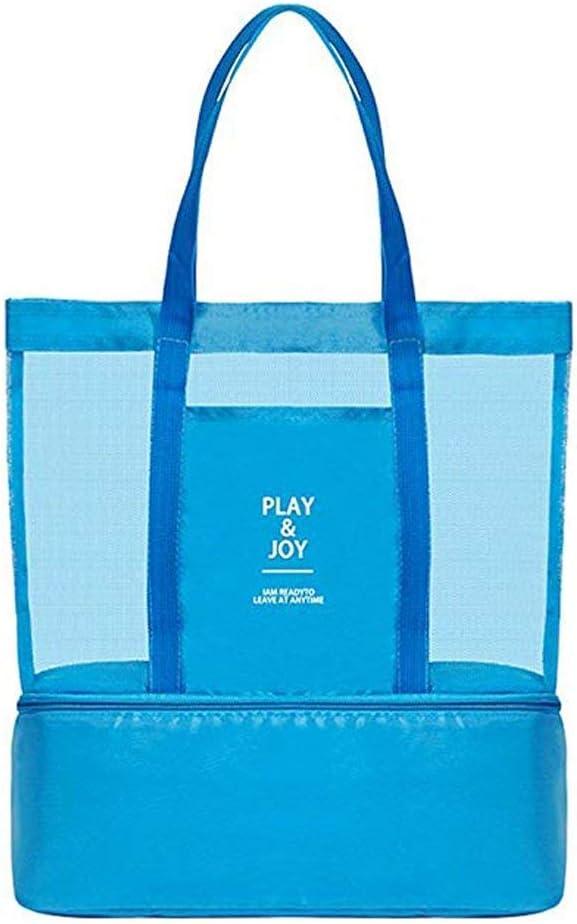 Bolsa de malla con refrigerador aislante, ligera, impermeable, para la playa, natación, piscina, camping, picnic, gimnasio, deportes, viajes, grande y práctica, para mujer