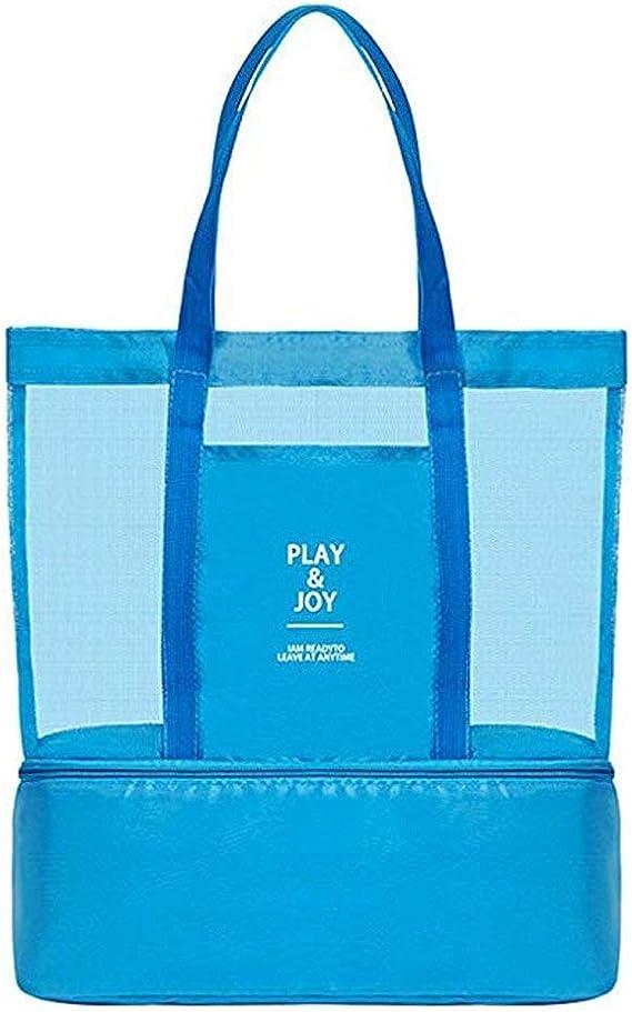 Bolsa de malla con refrigerador aislante, ligera, impermeable, para la playa, natación, piscina, camping, picnic, gimnasio, deportes, viajes, grande y