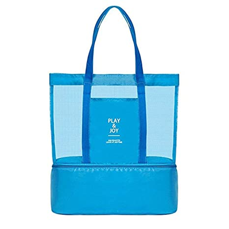 c2085f0108d0 Mesh Beach Bag with Insulated Cooler,Waterproof Tote Bags for Beach Pool  Picnic Gym(Blue)