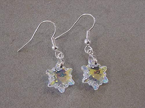 Silver Crystal Snowflake Earrings with Swarovski Edelweiss Crystals AB Christmas Jewelry