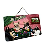 Home of Chihuahua 4 Dogs Playing Poker Photo Slate Hanging